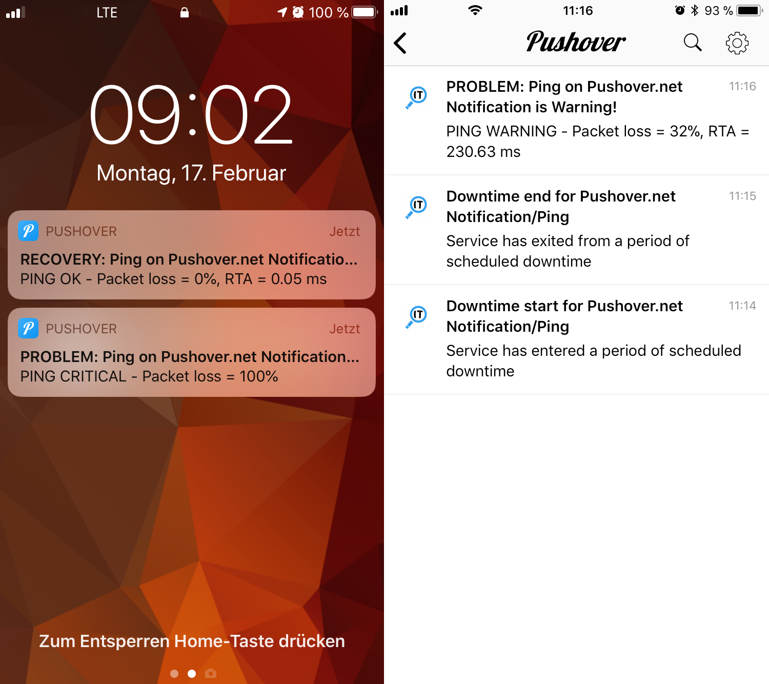 openITCOCKPIT notifications through Pushover on iOS or Android